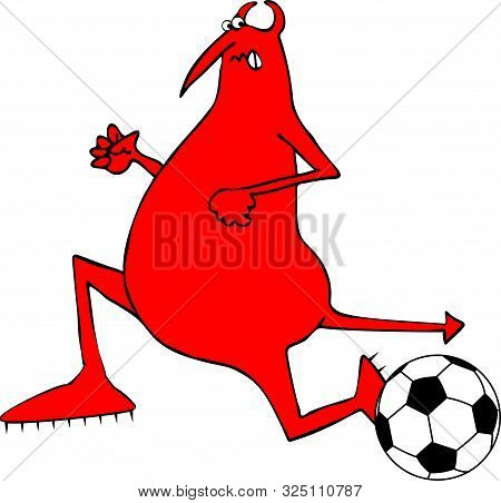 Illustration Of A Red Devil Running Ahead Of A Soccer Ball.