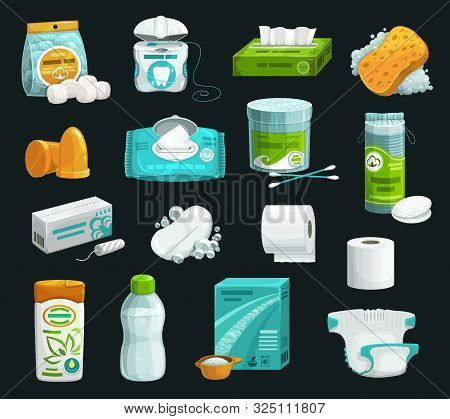 Hygiene Product Icons Of Personal Care. Vector Shampoo, Soap And Sponge, Cotton Wool Balls, Pads And