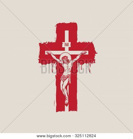 Vector Banner With Crucifixion. Religious Illustration With Crucified Jesus Christ On The Abstract R