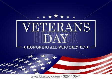 Veterans Day Background. Template For Veterans Day Design. Vector Illustration.