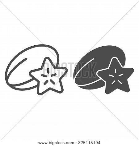 Starfruit Line And Glyph Icon. Tropical Food Vector Illustration Isolated On White. Carambola Outlin