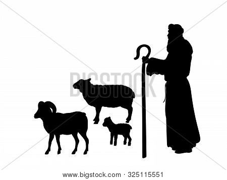 Holiday Silhouettes Christmas Nativity. Shepherd Grazes Flock Sheep. Illustration