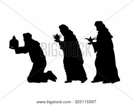 Holiday Silhouettes Christmas. Wise Men With Gifts. Vector Illustration