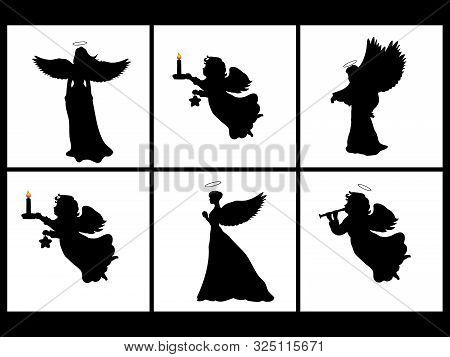 Holiday Set Silhouettes Christmas Angels . Vector Illustration