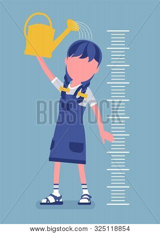 Girl At Child Height Growth Chart With Watering Can. Schoolgirl Pouring Water Over Her Head To Grow