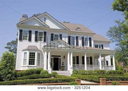 White Two Story With Porch