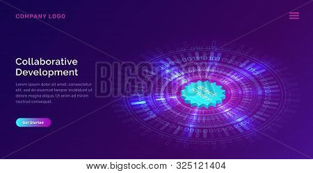 Glowing Blue Neon Ring Or Futuristic Circle With Digital Binary Code And Black Friday Icon, Concept