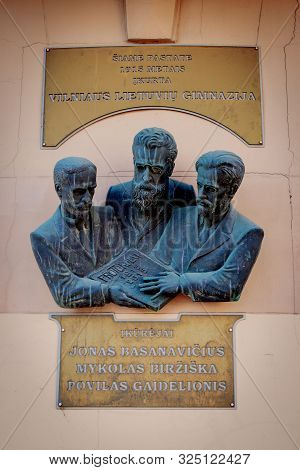 Vilnius, Lithuania - September 28, 2017: Monument To The Founders Of The First Lithuanian Gymnasium