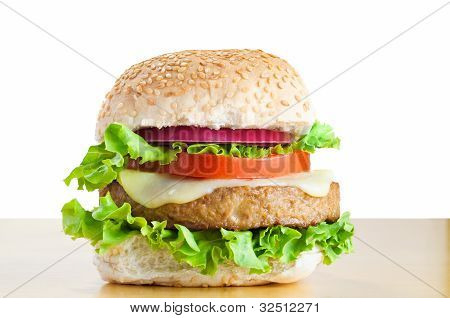 Vegetarian Cheeseburger On Table