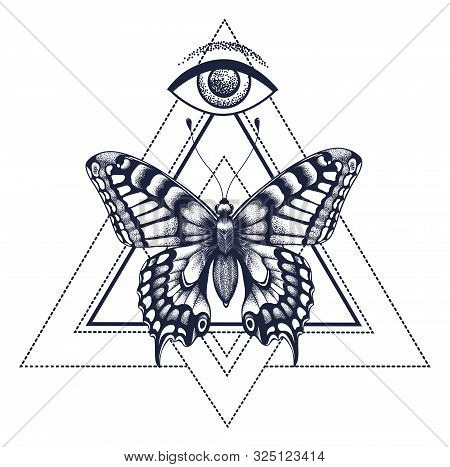 Sacral Butterfly Tattoo And T-shirt Design. Butterfly In Triangle, At Top Is All-seeing Eye Of Horus