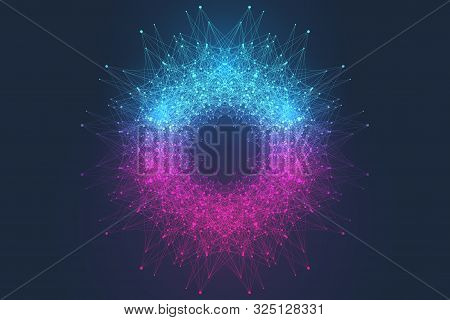 Quantum Computer Technology Concept. Sphere Explosion Background. Deep Learning Artificial Intellige