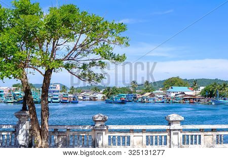Landscape of small village in seashore Phu Quoc, Kien Giang, Vietnam. Royalty high quality free stoc