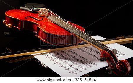 Tel Aviv, Israel - September 30, 2019: Violin On A Black Background, Close-up. Music Concept. Detail