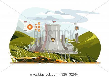 Modern Atomic Reactor Vector Illustration. Big Tube
