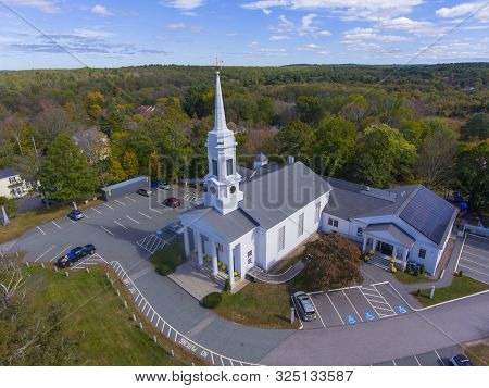Unitarian Universalist Area Church Aerial View On Washington Street In Historic Town Center In Fall,