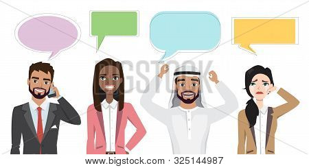 Set Of Multinational Characters Speaking With Speech Bubble. People In A Cartoon Style Experiences D