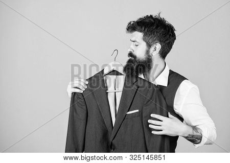 When The Invite Says Formal. Bearded Man At Formal Wear Boutique. Hipster Choosing Formal Suit Jacke