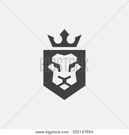 Lion Shield Luxury Logo Icon, Elegant Lion Shield Geometric Logo Design Illustration, Lion Head With