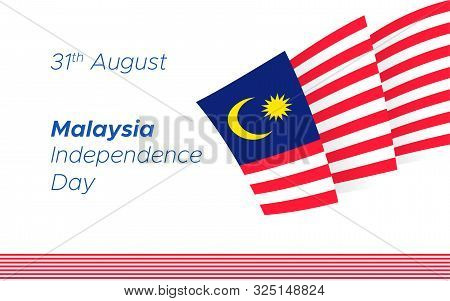 Malaysia Merdeka Mector Poster. National Traditional Holiday Symbol. Malaysian Jalur Gemiland Flag D