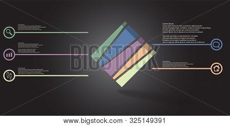 3D Illustration Infographic Template With Embossed Cube Askew Arranged And Vertically Divided To Fiv