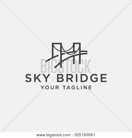 Unique Bridge Logo Design Template, Bridge Linear Style Logo, Memorable Bridge Logo
