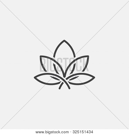 Lotus Linear Icon Concept, Lotus Line Vector Sign, Lotus Leaf Vector Illustration. Lotus Linear Conc