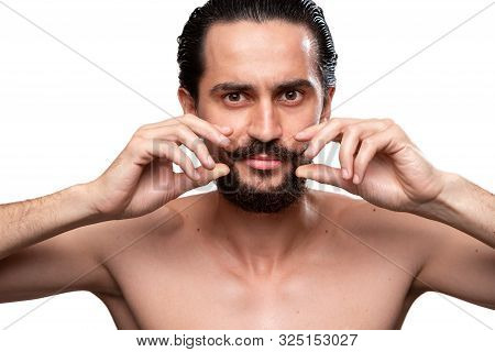 Handsome Bearded Man Curling Mustaches Standning Bare Isolated Over White Background. Concept Of Mor