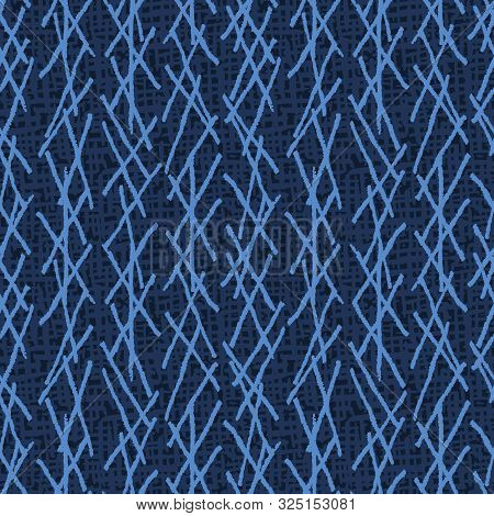 Seamless Pattern. Modern Indigo Blue Geometric Hand Drawn Netting Stripe. Repeating Abstract Backgro