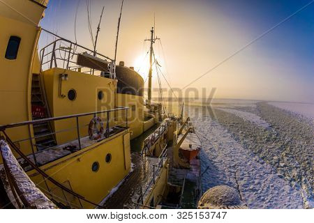 Unforgettable excursion to the arctic tourist cruise. Arctic in winter. Excursion to the Arctic sea icebreaker. The concept of active and extreme tourism