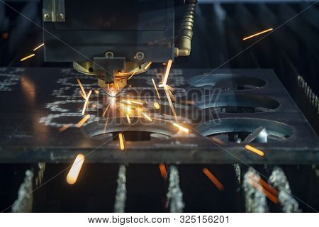 The Plasma Argon Gas Cutting Machine Control By Cnc Program Cutting The Thick Metal Plate. The Raw M