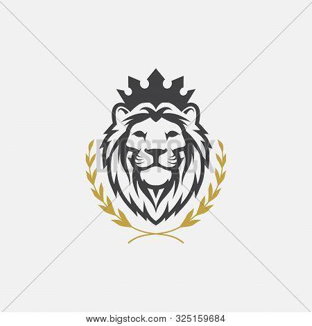 Lion Luxury Logo Icon Template, Elegant Lion Logo Design Illustration, Lion Head With Crown Logo, Li