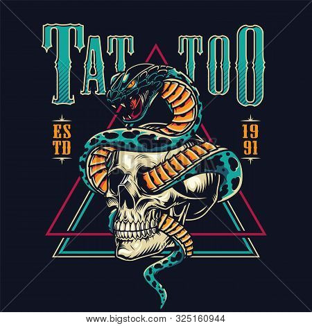 Colorful Tattoo Salon Emblem With Angry Snake Entwined With Skull In Vintage Style Isolated Vector I
