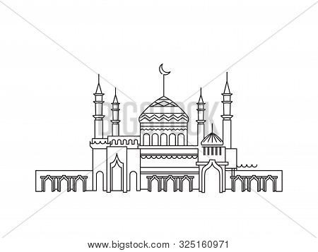Silhouette Of Mosque With Minarets And Crescent On White Background. Lineart Graphic For Islamic Hol