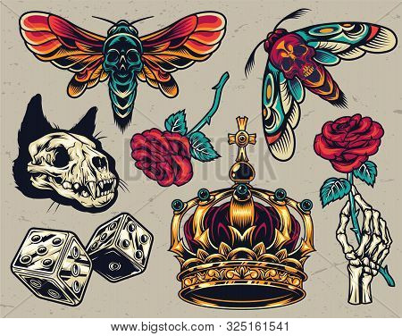 Vintage Colorful Tattoos Composition With Cat Skull Dice Ornate Royal Crown Skeleton Hand Holding Ro