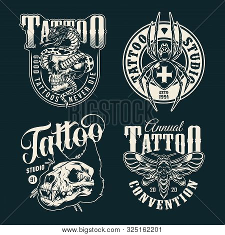 Vintage Tattoo Salon Emblems With Cross Spider Spooky Death Head Moth Cat Skull And Snake Entwined W
