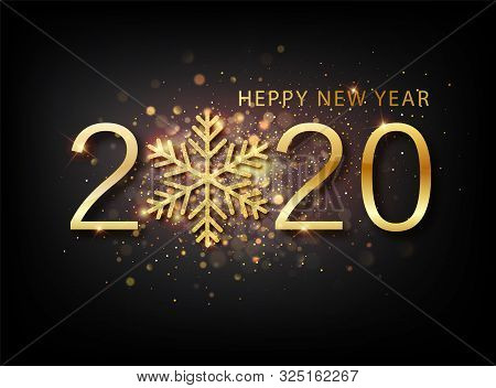 2020 New Year Background. Holiday Label With Fallen Golden Glitter Confetti Over Black Backdrop. Cal