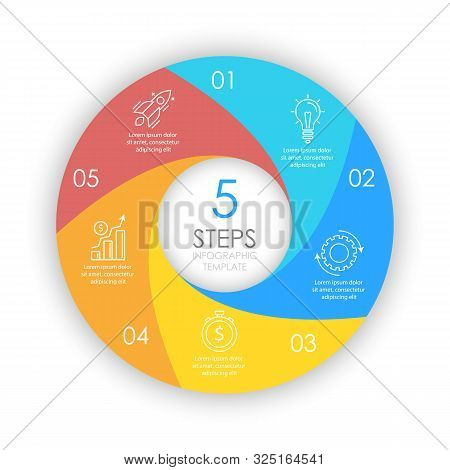 Vector Circle Infographic Template With 5 Options For Presentations Or Layouts. Business Concept Rou