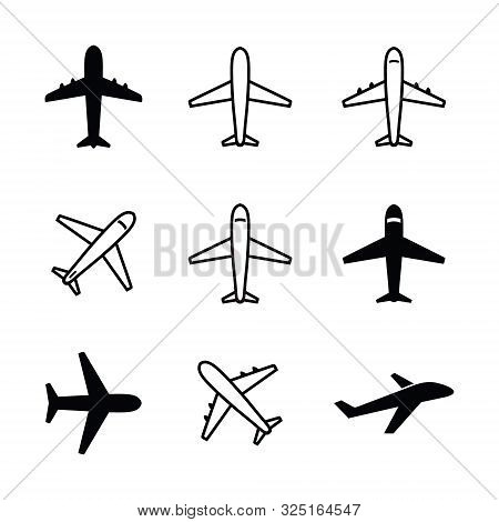 Set Of Airplane Icon Vector Isolated On White Background. Airplane Icon Vector Collection. Airplane