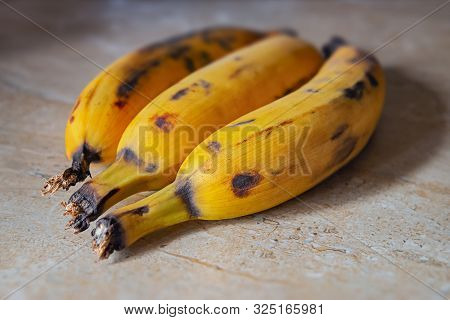 Plantain Fruit Top Kitchen Counter Ripe Two Organic Raw Food Close Up