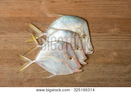 Moonshine Joshua Tropical Caribbean Fish On Wooden Board With Three Organic Fresh Seafood Food
