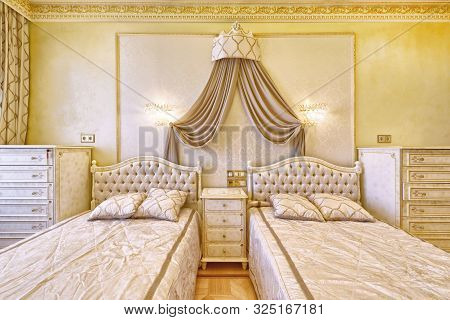 Russia , Moscow Region - Luxury Bedroom Interior In The New Rich Country House.