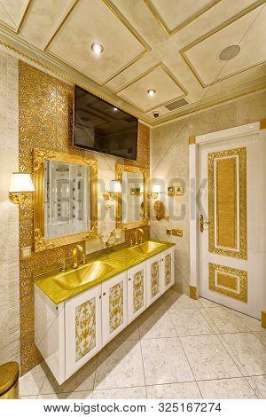 Interior Of A Modern House.interior Design Stylish Bathroom Luxury House.