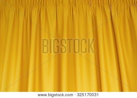 Fabric Yellow Curtains. Abstract Background, Curtain, Drapes Gold Fabric. Crumpled Cloth