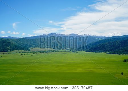 Landscape With Sibirian Altai Mountains And Green Grass Field, And Forest, Blue Sky With Clouds In R
