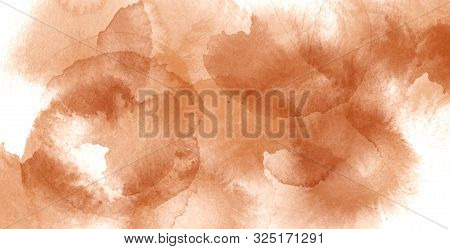 Abstract Watercolor Brawn Spots On White Background. Drawn Creative Graphic Design Element.