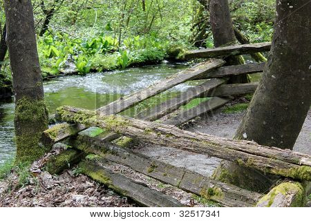 wooden fence by the river