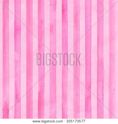 Watercolor Pink Stripes On Pink Background. Striped Seamless Pattern. Watercolour Hand Drawn Stripe