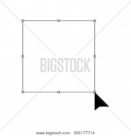 Mouse Cursor On A Selection Box Icon Vector Design Resizing Mark Illustration