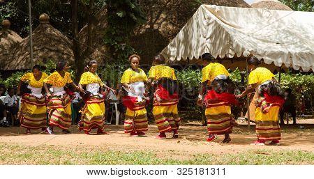 Kampala, Uganda - October 03, 2012.  Female Dancers Perform Outside The Kampala National Theatre In