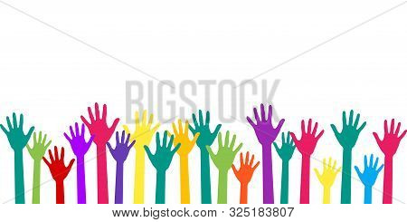 Colorful Raised Hands Group Art Therapy Vector Illustration. Hands In Paint Of Rainbow Colors Raised